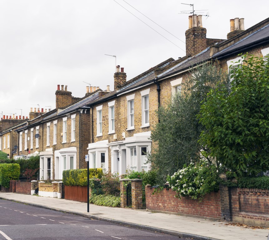 A row of terraced houses in Hackney, East London.